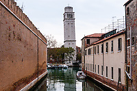 Italy, Venice. Leaning tower close to Arsenale di Venezia.