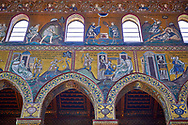 North wall mosaics depicting scenes from the Bible in the Norman-Byzantine medieval cathedral  of Monreale,  province of Palermo, Sicily, Italy. .<br /> <br /> If you prefer you can also buy from our ALAMY PHOTO LIBRARY  Collection visit : https://www.alamy.com/portfolio/paul-williams-funkystock/monrealeduomomosaics.html. Refine search by adding subject etc  into the LOWER SEARCH WITHIN GALLERY box. <br /> <br /> Visit our BYZANTINE MOSAIC PHOTO COLLECTION for more   photos  to download or buy as prints https://funkystock.photoshelter.com/gallery-collection/Roman-Byzantine-Art-Artefacts-Antiquities-Historic-Sites-Pictures-Images-of/C0000lW_87AclrOk