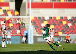 London Irish's Paddy Jackson misses the final penalty during the Gallagher Premiership match at the Brentford Community Stadium, London. Picture date: Sunday September 26, 2021.