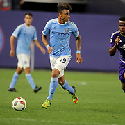 Khiry Shelton, (left), NYCFC, is challenged by Cyle Larin, Orlando, during the New York City FC Vs Orlando City, MSL regular season football match at Yankee Stadium, The Bronx, New York,  USA. 18th March 2016. Photo Tim Clayton