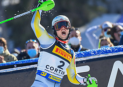 21.02.2021, Cortina, ITA, FIS Weltmeisterschaften Ski Alpin, Slalom, Herren, 2. Lauf, im Bild Goldmedaillen Gewinner und Weltmeister im Slalom der Herren 2021 Sebastian Foss Solevaag (NOR) // Gold medal winner and world champion in men's slalom 2021 Sebastian Foss Solevaag of Norway reacts after his 2nd run of men slalom of FIS Alpine Ski World Championships 2021 in Cortina, Italy on 2021/02/21. EXPA Pictures © 2021, PhotoCredit: EXPA/ Erich Spiess