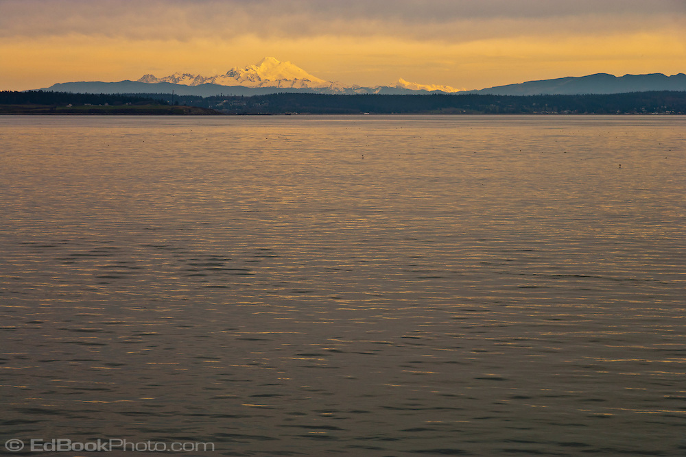 Mount Baker (Koma Kulshan) in warm morning light as seen from Admiralty Inlet in Puget Sound on a ferry crossing from Port Townsend to Keystone on Whidbey Island.  Washington state, USA