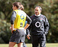 Kicking coach Dave Alred (R) with Tony Flood during the England elite player squad trainnig session at Pennyhill Park, Bagshot, UK, on 11th March 2011  (Photo by Andrew Tobin/SLIK images)