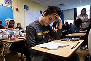 Luke Parana works through Algebra 2 / Trigonometry problem sets at West High School in Madison, WI on Friday, April 12, 2019.
