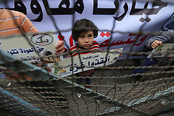 February 6, 2018 - Rafah, Gaza Strip, Palestinian Territory - Palestinians take part in a protest against the US move to freeze funding for the UN agency for Palestinian refugees in the southern Gaza Strip town of Rafah on February 6, 2018  (Credit Image: © Ashraf Amra/APA Images via ZUMA Wire)