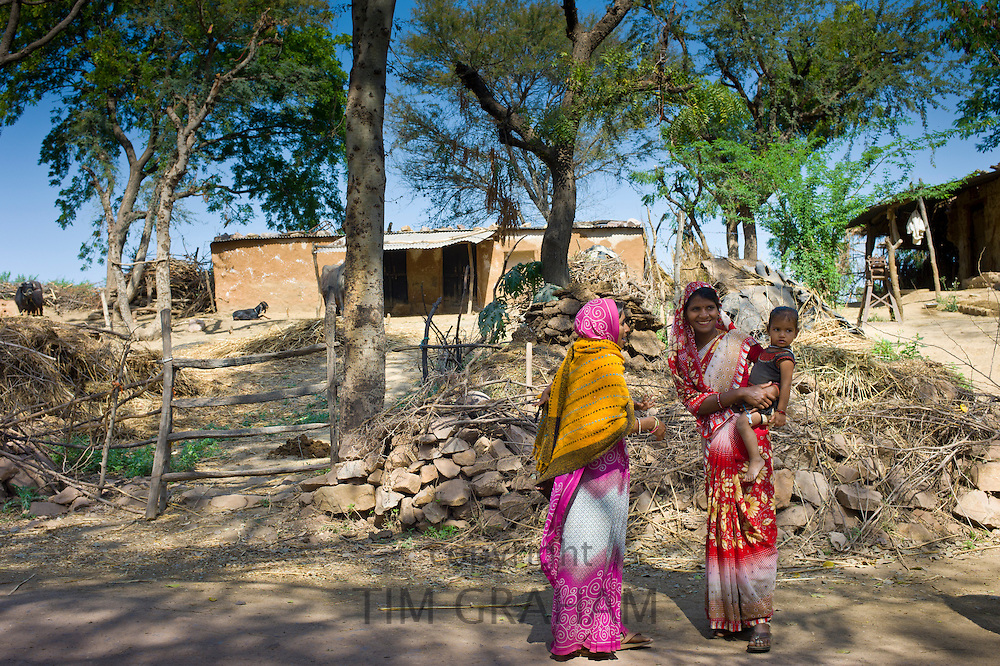 Indian villagers near Ranthambore in Rajasthan, Northern India