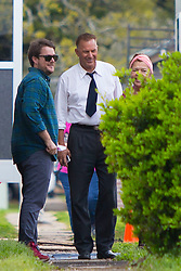 "EXCLUSIVE: Woody Harrelson and Kevin Costner film scenes for their new Netflix original movie ""The Highwaymen"". Harrelson and Costner are playing Texas Rangers Frank Hamer and Maney Gault, who were responsible for killing the notorious bank robbers 'Bonnie and Clyde'. Both Costner and Harrelson were seen carrying guns on set. Also seen onset in costume is actor William Sadler. 27 Feb 2018 Pictured: Woody Harrelson, Kevin Costner. Photo credit: MEGA TheMegaAgency.com +1 888 505 6342"