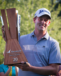 August 5, 2018 - Reno, Nevada, U.S - Sunday, August 5, 2018.Winner ANDREW PUTNAM poses for a photo with the tournament trophy after winning the 2018 Barracuda Championship at the Montreux Golf & Country Club. ..The Barracuda Championship Golf Tournament is one of only 47 stops on the PGA Tour worldwide, and has donated nearly $4 million to charity since 1999. Opened in 1997, the par-72 course was designed by Jack Nicklaus, plays at 7,472 yards (6,832 m) and its average elevation is 5,600 feet (1,710 m) above sea level...The Montrux Golf and Country Club is located midway between Reno and Lake Tahoe...As the tournament champion, Putnam, received a check in the amount of $612,000. (Credit Image: © Tracy Barbutes via ZUMA Wire)