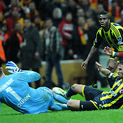 Galatasaray's Emmanuel Eboue (R) during their Turkish superleague soccer derby match Galatasaray between Fenerbahce at the TT Arena in Istanbul Turkey on Friday, 18 March 2011. Photo by TURKPIX