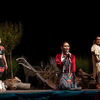 For her traditional talent Sierra Vail showcased models wearing different outfits representing changes through fashion throughout the generations, Thursday, August 9 at the El Morro Theatre. Vail also presented a Navajo bun which has not  changed over time. <br /> tells the Navajo story of the cradle board at the Gallup Inter-Tribal Ceremonial Queen competition at the El Morro Theatre, Thursday, August 9, 2018.