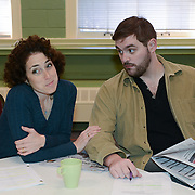 """Ilyse Robbins as Ellen and CJ Lewis as Peter in a rehearsal for Kent Stephen's """"Love and Faith and Other Dirty Words"""""""