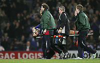 Photo: Lee Earle.<br /> Portsmouth v Manchester City. The Barclays Premiership. 10/02/2007. Portsmouth's Pedro Mendes is carried off after his injury.