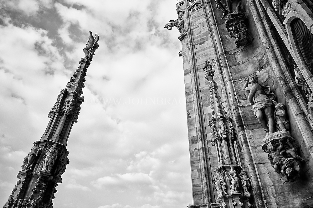 Black and white view of spires on the Duomo Cathedral, Milan Italy