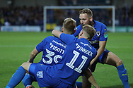 AFC Wimbledon striker Joe Pigott (39) celebrating after scoring goal to make it 1-0 during the EFL Carabao Cup 2nd round match between AFC Wimbledon and West Ham United at the Cherry Red Records Stadium, Kingston, England on 28 August 2018.