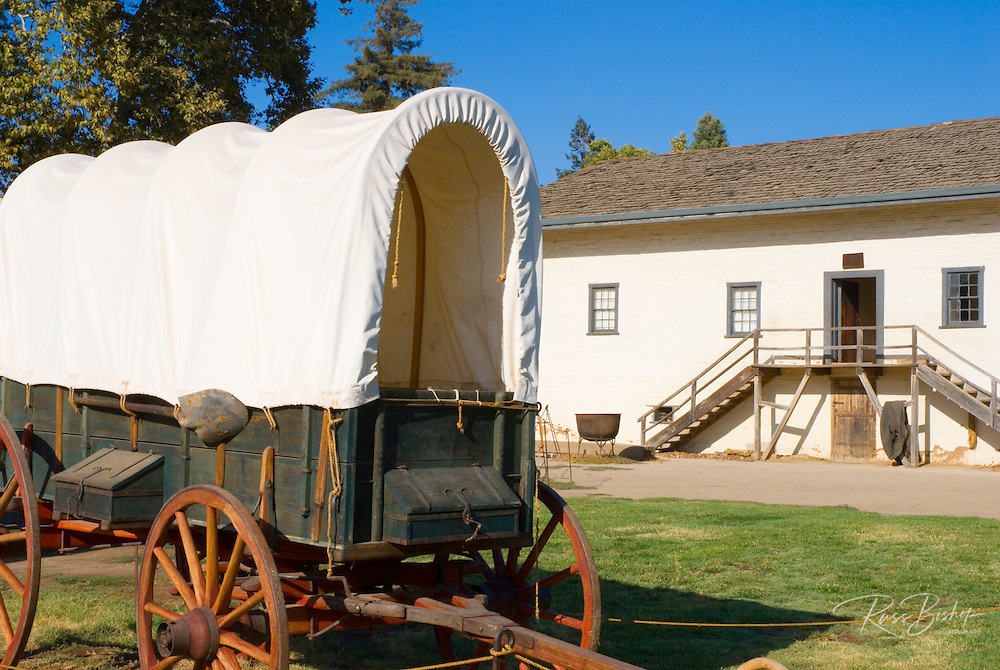 Connestoga wagon and Sutter's office, Sutter's Fort State Historic Park, Sacramento, California