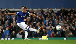 Everton' Andrade Richarlison takes a penalty during the shoot out during the Carabao Cup, third round match at Goodison Park, Liverpool.