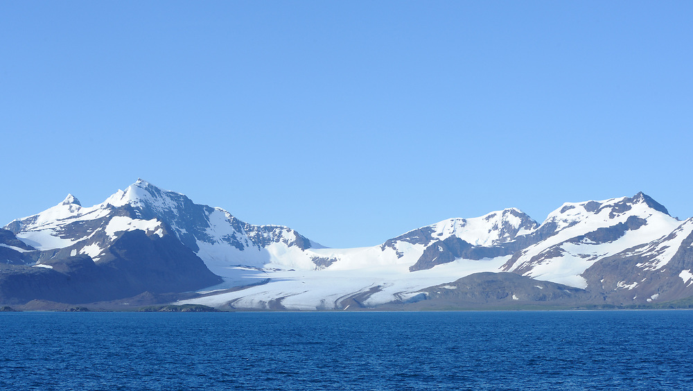 Blue sky and blue sea and the mountains and glaciers behind Bay of Isles. Bay of isles,  South Georgia. 19Feb16