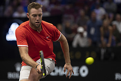 September 21, 2018 - Chicago, Illinois, U.S - JACK SOCK of the United States hits a forehand during the second singles match on Day One of the Laver Cup at the United Center in Chicago, Illinois. (Credit Image: © Shelley Lipton/ZUMA Wire)