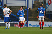 Football - 2020 / 2021 Emirates FA Cup - Round 2 - Portsmouth vs. Kings Lynn Town - Fratton Park<br /> <br /> Portsmouth's Tom Naylor celebrates his goal at Fratton Park <br /> <br /> COLORSPORT/SHAUN BOGGUST