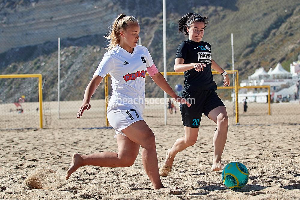 NAZARE, PORTUGAL - JUNE 7: Elizabeth Elstein of Nomme Kalju FC and Anoek Blankespoor of Beachsoccer DTS Ede during the Euro Winners Cup Nazaré 2019 at Nazaré Beach on June 7, 2019 in Nazaré, Portugal. (Photo by Jose M. Alvarez)