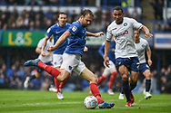 Portsmouth Forward, Brett Pitman (8) with a shot at goal during the EFL Sky Bet League 1 match between Portsmouth and Wycombe Wanderers at Fratton Park, Portsmouth, England on 22 September 2018.