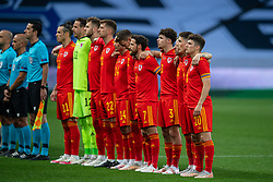 NICE, FRANCE - Wednesday, June 2, 2021: Wales players line-up for the national anthem before an international friendly match between France and Wales at the Stade Allianz Riviera ahead of the UEFA Euro 2020 tournament. (Pic by Simone Arveda/Propaganda)
