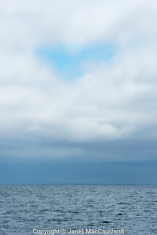 An overcast sky over the ocean gives way to a patch of blue shaped like a heart.