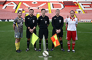 Sheffield United Ladies' captain Rosa Neary (Right) lines up for a photo with the match officials during the FA Women's Cup First Round match at Bramall Lane Stadium, Sheffield. Picture date: December 4th, 2016. Pic Clint Hughes/Sportimage