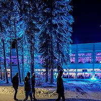 26.12.2018; Davos; EISHOCKEY SPENGLER CUP - HK Metallurg Magnitogorsk - HC Ocelari Trinec; Eisdome Fassade Ansicht Beleuchtung Licht (Andy Mueller/freshfocus)