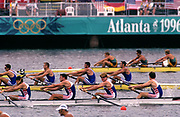 Atlanta, USA. GBR M4-  Final far AUS and FRA as GBR M4- come through to take the silver medal. Bow, Rupert OBHOLZER, Jonny SEARLE, Greg SEARLE and stroke, Tim FOSTER. 1996 Olympic Rowing Regatta Lake Lanier, Georgia, USA.  [Mandatory Credit Peter Spurrier/ Intersport Images]