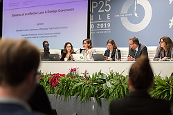 12 December 2019, Madrid, Spain: Idil Boran, associate professor at York University (Canada), speaks at a side-event on Breaking new ground: Advancing loss and damage governance and finance mechanisms, at COP25.