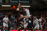 Alun Wyn Jones of Wales wins a lineout ball. Wales v England, international rugby, World cup warm up match at Millennium Stadium in Cardiff on Sat 13th August 2011. Pic By Andrew Orchard, Andrew Orchard sports photography,