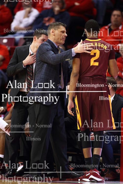 06 January 2016: Bryan Mullins, Porter Moser and Earl Peterson(2) during the Illinois State Redbirds v Loyola-Chicago Ramblers at Redbird Arena in Normal Illinois (Photo by Alan Look)