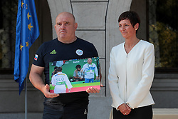 Marjan Fabjan and Maja Makovec Brencic during reception of Slovenian Olympic Team at Vila Podroznik when they came back from Rio de Janeiro after Summer Olympic games 2016, on August 26, 2016 in Ljubljana, Slovenia. Photo by Matic Klansek Velej / Sportida