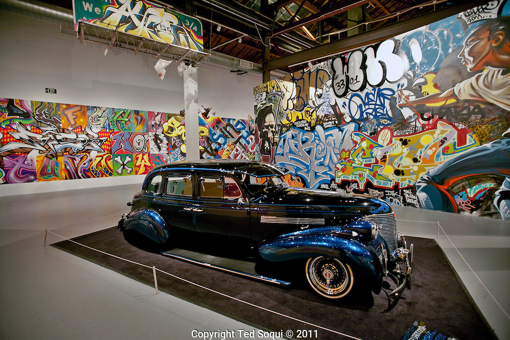 """Street art in Los Angeles..L.A. has become the new ground zero for avant-guard and cutting edge street and graffiti. Artist from around the world now come to L.A. to post their work..Examples of street art at MOCA's """"Art In The Streets"""" show. This is the first time a major U.S. museum has dedicated its space entirely to street and graffiti art."""