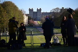© Licensed to London News Pictures. 17/04/2021. Windsor, UK. Media start to gather on The Long Walk, in front of Windsor Castle, in Windsor, Berkshire, ahead of the funeral of Prince Philip, The Duke of York. Prince Philip, the Consort of the longest reigning English monarch in history, Queen Elizabeth II, died on 9 April 2021, two months before his 100th birthday. . Photo credit: Ben Cawthra/LNP