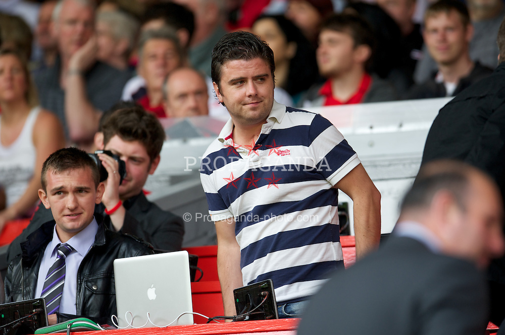 LIVERPOOL, ENGLAND - Sunday, August 12, 2012: The Anfield Wrap's Andrew Heaton in the press box during a preseason friendly match at Anfield. (Pic by David Rawcliffe/Propaganda)