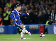 Chelsea's Eden Hazard scoring his sides second goal during the Premier League match at the Stamford Bridge Stadium, London. Picture date: April 5th, 2017. Pic credit should read: David Klein/Sportimage