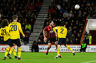 Dan Gosling (4) of AFC Bournemouth shoots at goal with a header during the The FA Cup match between Bournemouth and Arsenal at the Vitality Stadium, Bournemouth, England on 27 January 2020.