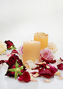 New-Age Treatment Rose petals and candles in a SPA for a tranquil and relaxing atmosphere