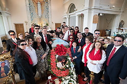 © Licensed to London News Pictures. 21/04/2018. Cobham, UK. Family members attend the funeral of Queenie, Elizabeth Doherty from Sacred Heart Church in Cobham, Surrey. Elizabeth Doherty, whose son Paddy Doherty is known for appearing on My Big Fat Gypsy Wedding and winning Celebrity Big Brother 8, died of a heart attack earlier this month. Paddy Doherty claimed his mother has died of a 'broken heart' following the death of her husband almost a year ago. Photo credit: Peter Macdiarmid/LNP