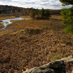 View of marsh and Selden Creek in Lyme, Connecticut.  The Nature Conservancy's Selden Creek Preserve.  Connecticut River tributary.