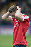 Danny Parslow (York City) is in tears after the final whistle. York City are relegated to the National League North after the Vanarama National League match between York City and Forest Green Rovers at Bootham Crescent, York, England on 29 April 2017. Photo by Mark PDoherty.