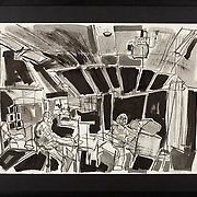 """Title: Classroom<br /> Artist: Julie Fleschman<br /> Date: 2018<br /> Medium: Charcoal and sumi ink<br /> Dimensions: 29 x 23""""<br /> Status: Available<br /> Location: HLC Storage"""