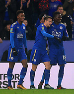 Jamie Vardy of Leicester city © celebrates with teammates after he scores his teams 1st goal to make it 1-1 .Carabao Cup quarter final match, Leicester City v Manchester City at the King Power Stadium in Leicester, Leicestershire on Tuesday 19th December 2017.<br /> pic by Bradley Collyer, Andrew Orchard sports photography.