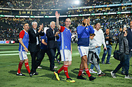 Zinedine Zidane (France 98), Nikos Aliagas (Nikolaos Aliagas), Aime Jacquet (France 98), Youri Djorkaeff (France 98) greatd supporters at the end of the game during the 2018 Friendly Game football match between France 98 and FIFA 98 on June 12, 2018 at U Arena in Nanterre near Paris, France - Photo Stephane Allaman / ProSportsImages / DPPI