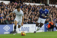 Jack Cork of Swansea City gets away from Yannick Bolasie of Everton. Premier league match, Everton v Swansea city at Goodison Park in Liverpool, Merseyside on Saturday 19th November 2016.<br /> pic by Chris Stading, Andrew Orchard sports photography.