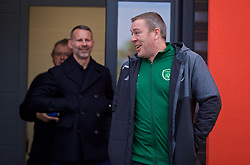 WREXHAM, WALES - Wednesday, October 30, 2019: Republic of Ireland coach Richard Dunne (R) chats with Wales national team manager Ryan Giggs during the 2019 Victory Shield match between Wales and Republic of Ireland at Colliers Park. (Pic by David Rawcliffe/Propaganda)