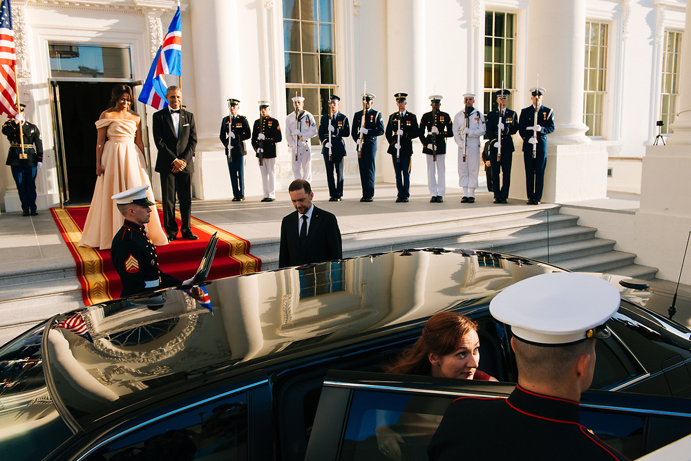 The Obamas welcomed Icelandic Prime Minister Sigurdur Ingi Johannsson and his wife Ingibjorg Elsa Ingjaldsdottir as they arrived at the North Portico of the White House