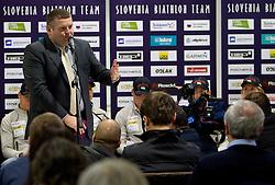 Tomaz Lovse, President  of SZS at press conference of Slovenia Biathlon team before new season 2010 - 2011, on November 24, 2010, in Emporium, BTC, Ljubljana, Slovenia.  (Photo by Vid Ponikvar / Sportida)